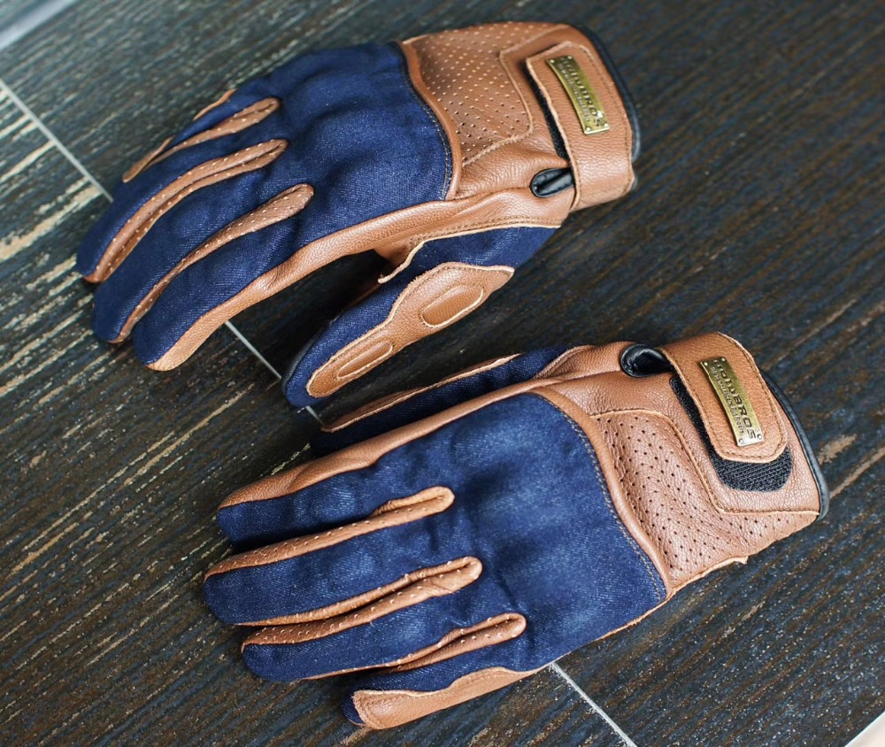 High quality cowboy leather motorcycle gloves scooter motor locomotive motorbike gloves Yellow brown motorcycle protection glove