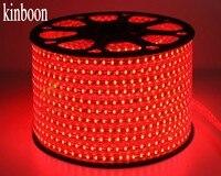Светодиодные ленты Водонепроницаемый SMD 5050 AC220V 50 м красный Светодиодные ленты e 5050 220 В свет с ЕС Мощность Plug Рождество Светодиодные ленты 50 м
