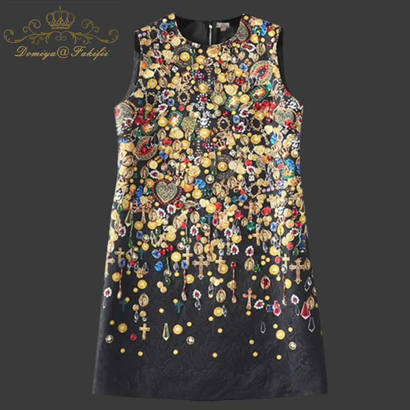 2018 Brand Designer Runway Summer Dress Women Sleeveless Straight Luxury Beading Jacquard Printed Vintage Dress Family Clothing цена