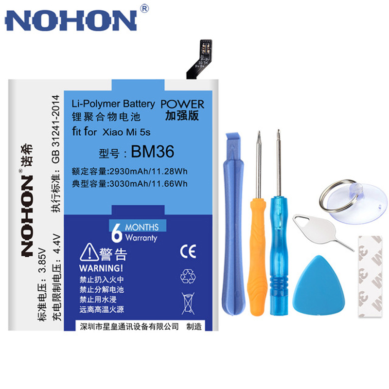 Original NOHON BM22 <font><b>BM35</b></font> BM36 <font><b>Battery</b></font> For <font><b>Xiaomi</b></font> Mi 6 5 4 5S <font><b>4C</b></font> Mi5 Mi6 <font><b>Mi4C</b></font> Mi5S BM32 BM39 Replacement Mobile Phone <font><b>Batteries</b></font> image