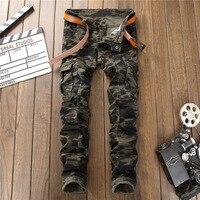 Mannen Militaire Broek 2018 Nieuwe Zakken Gesplitst Camouflage hiphop Broek Mode Slanke jeans Hot Koop Dropshipping