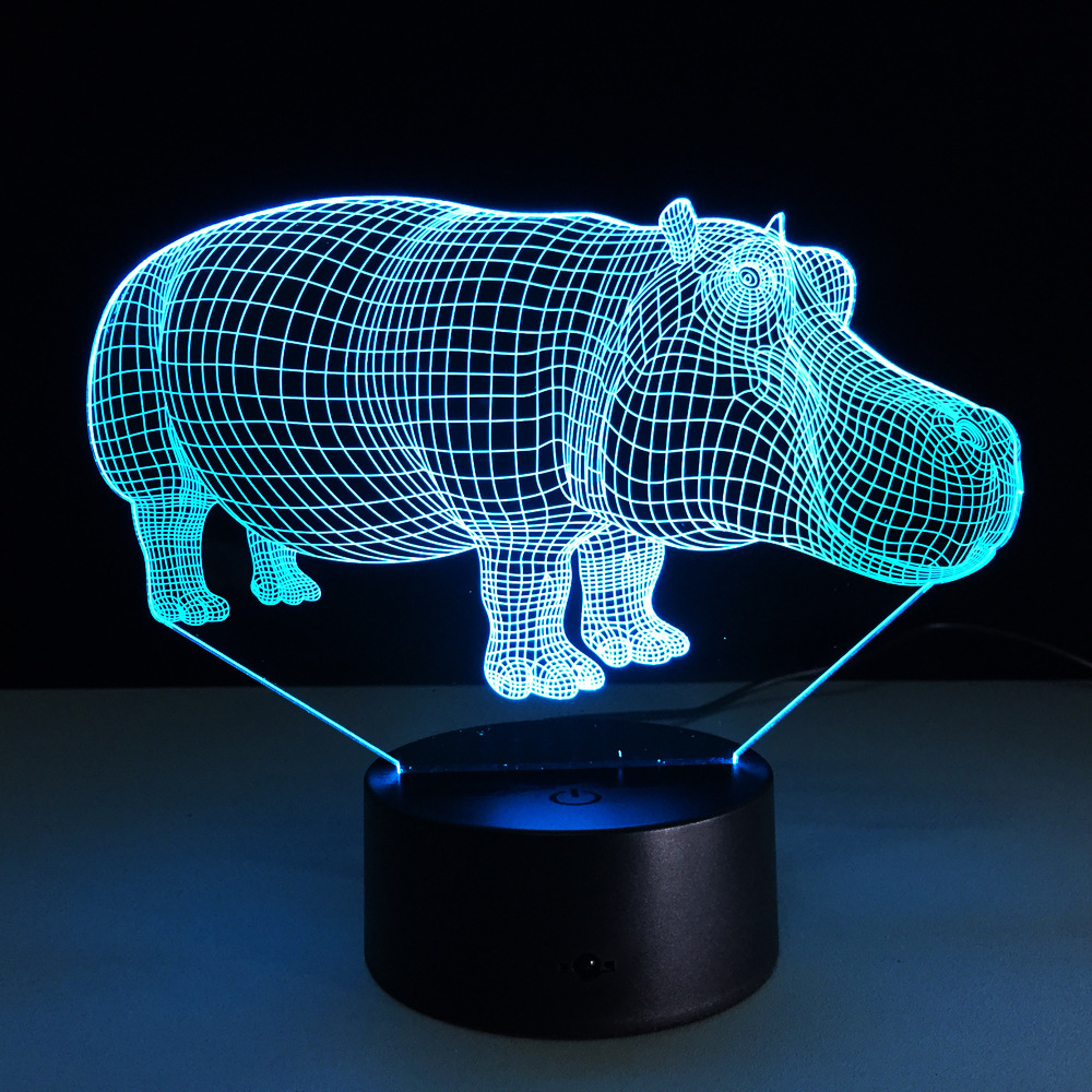 Led Lamps Cute Hippopotamus 7 Colors Changing Animal 3d Visual Led Night Light For Kids Touch Usb Table Lampe Baby Sleeping Lighting