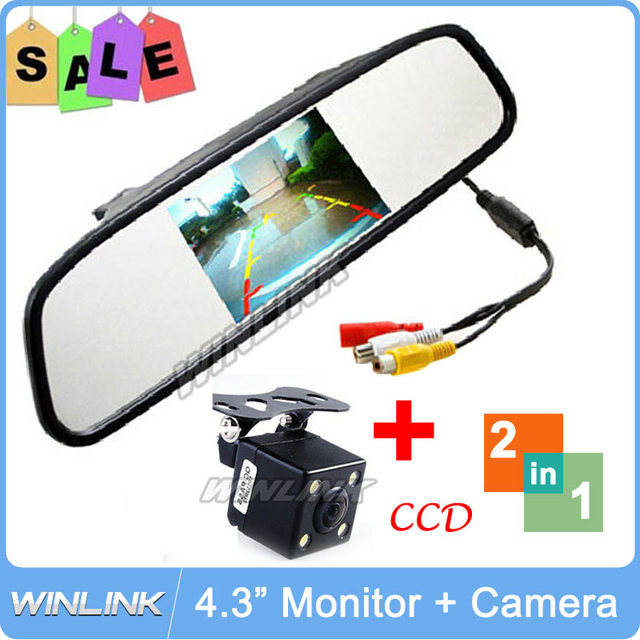 "Hot Sale! 2 in 1 New 4.3"" LCD Reverse Car Monitor With CCD Coms + 4 LED Lights Night Vision Rear View Camera"