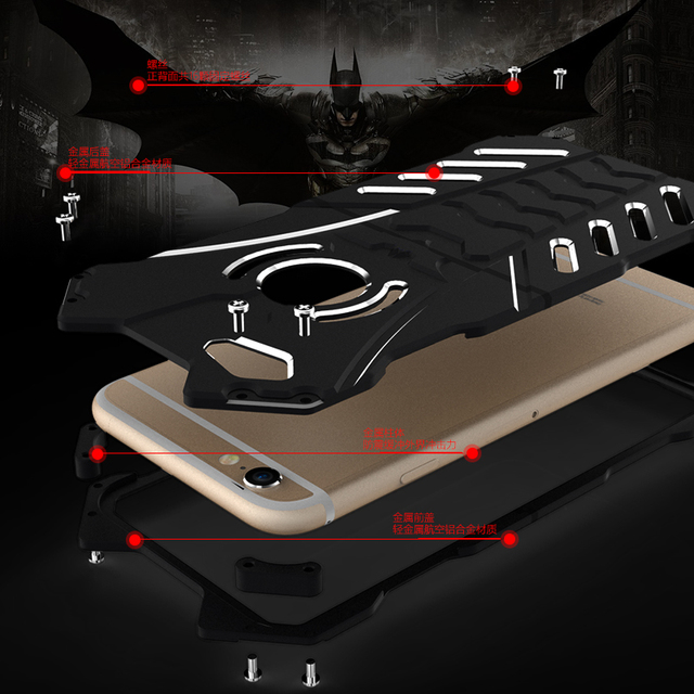 For iphone 6 6S plus case,Armor Heavy Dust Metal Aluminum CNC BATMAN protect Skeleton head phone shell case cover+BATMAN bracket