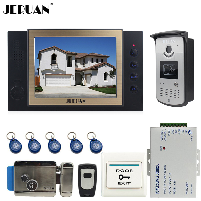 JERUAN 8`` video door phone doorbell intercom system home access control system RFID video recoreding + power supply 8 inch video door phone doorbell intercom system home access control system rfid video recoreding and photo storage and playback
