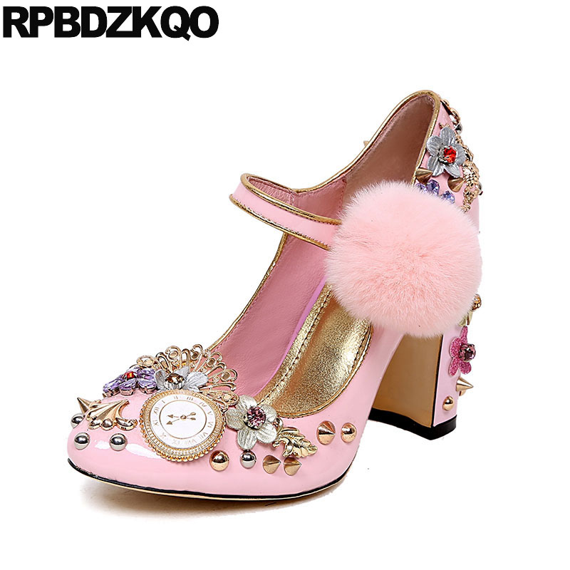 Stud Metal High Heels Pom Poms Ankle Strap Patent Leather Crystal Wedding Shoes Thick Pink Genuine Pumps Rivet Women Rhinestone luxury brand crystal patent leather sandals women high heels thick heel women shoes with heels wedding shoes ladies silver pumps