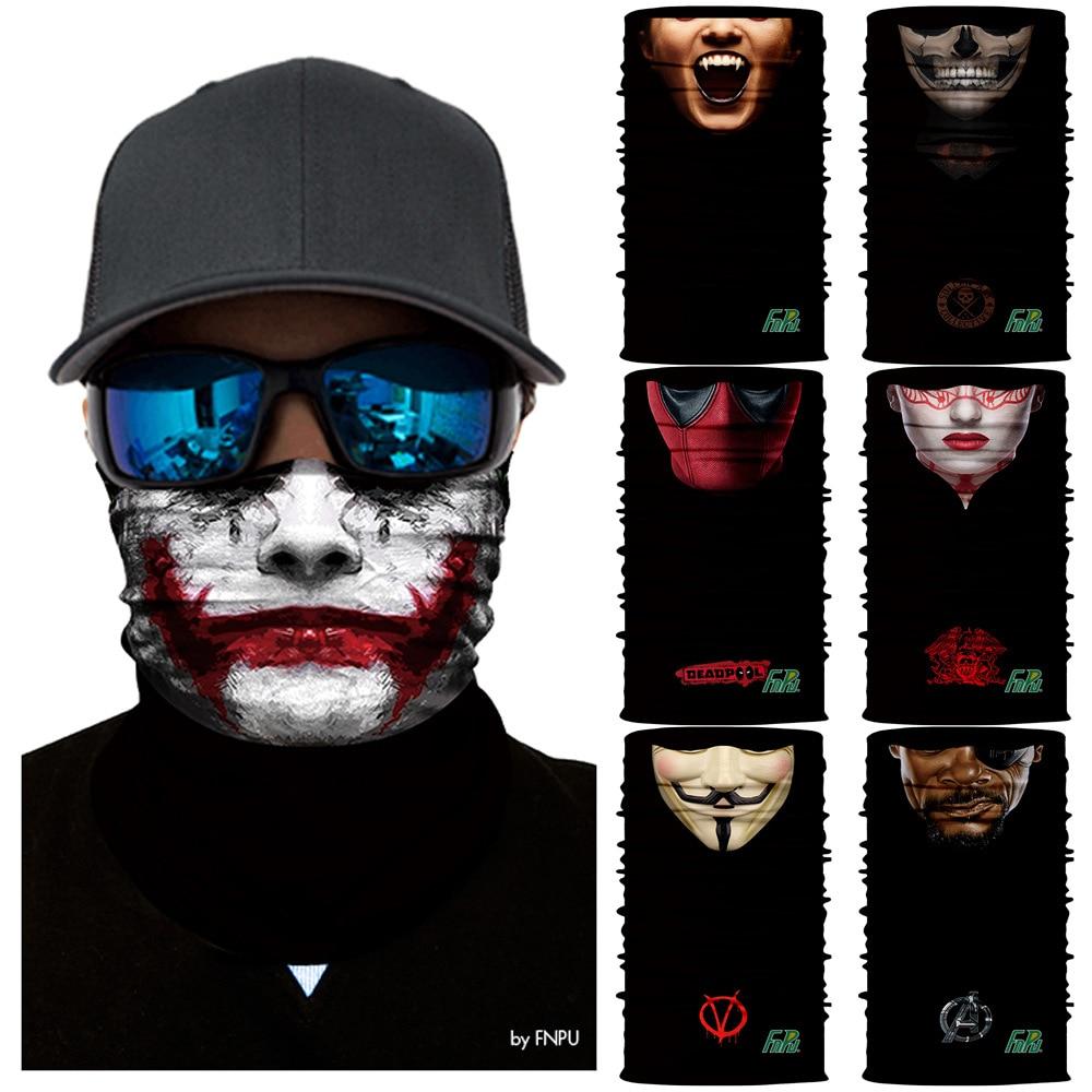 3d Joker Senza Soluzione Di Continuità Magia Collo Ghetta Maschere Da Sci Ciclismo Pesca Di Campeggio Bandana Halloween Bici Della Fascia Sciarpa Deadpool Viso Maschera