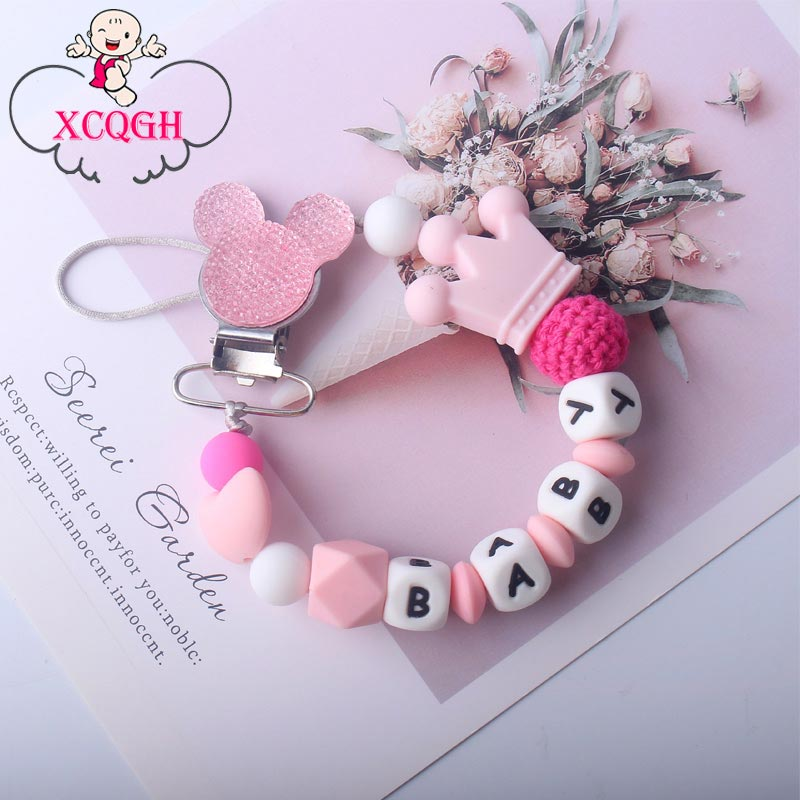 XCQGH Creative New Pacifier Chain Clip Silicone Beads Baby Pacifier Chain Multi Color Baby Molars Anti-chain Pacifier Clip