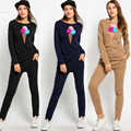 2 Pieces Set Women Tracksuit New Women Print Hairball O Neck Long Sleeve Sweatshirt And Pants Tracksuit Winter Women Suit Set