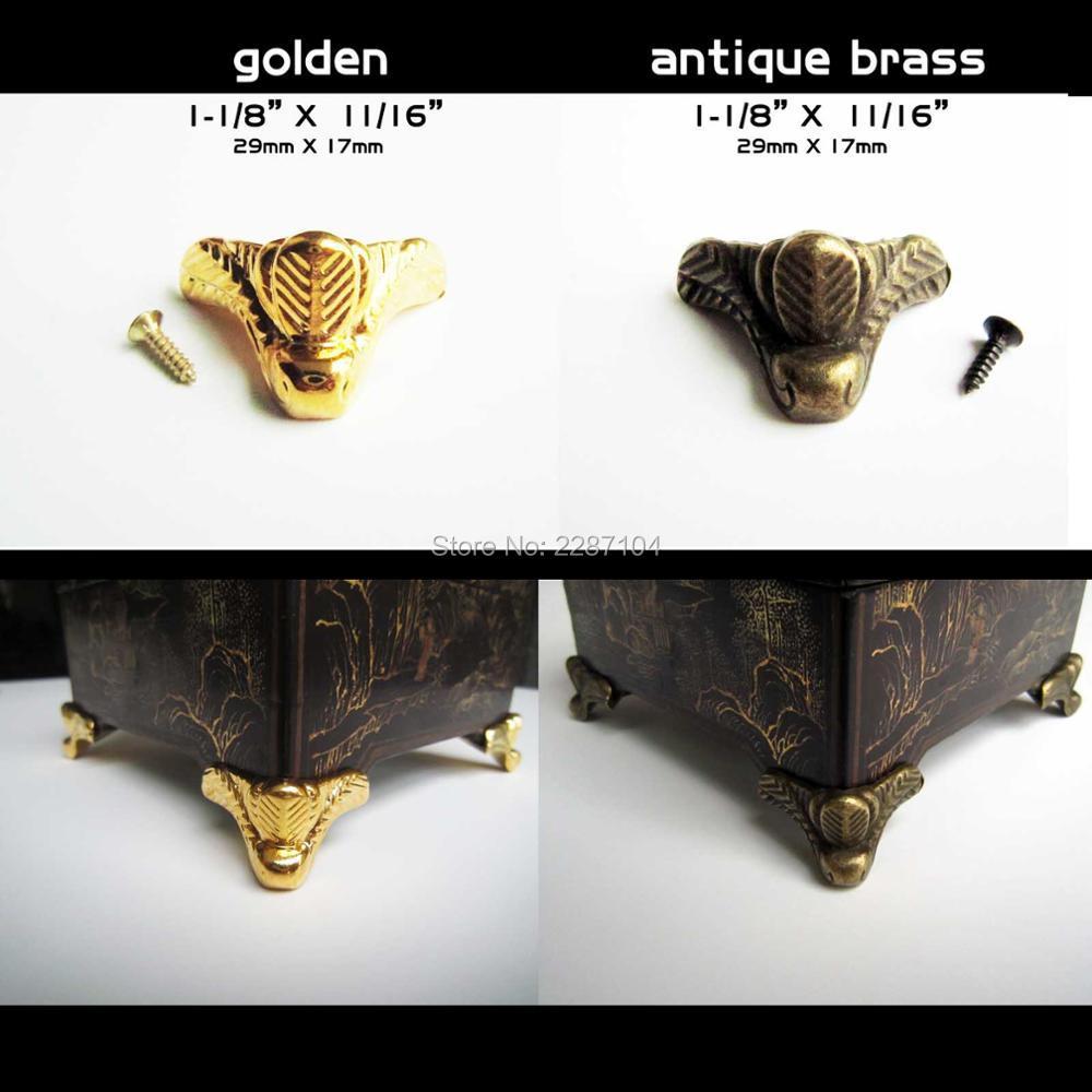 Decorative metal furniture legs - 4pcs Brand New Mini Decorative Antique Brass Golden Metal Jewelry Chest Box Wooden Case Feet Leg