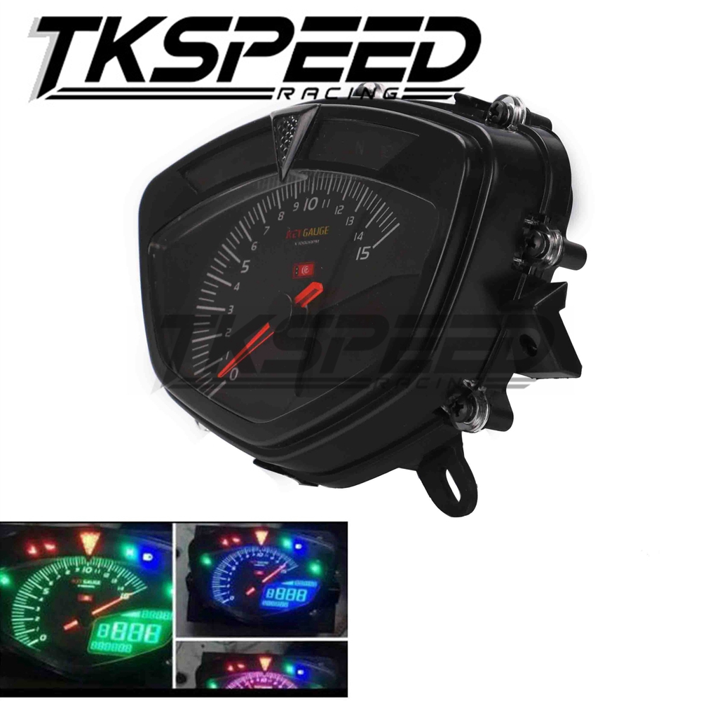 Free shipping Motorbike LCD digital speedometer with dual range seven color screen Motorcycle odometer Tachometer