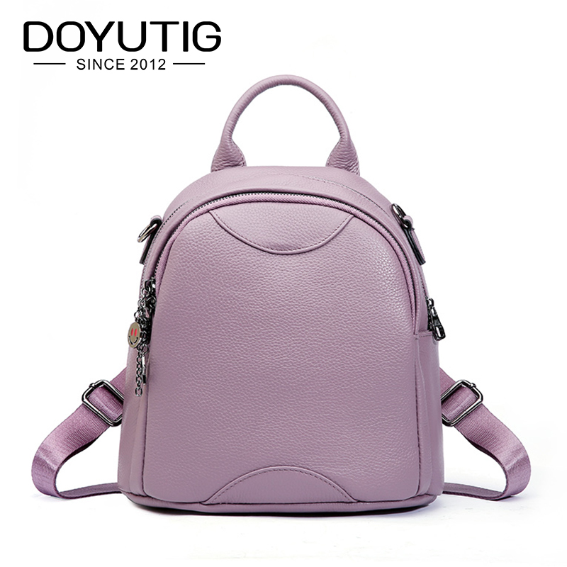 DOYUTIG High Quality Womens Genuine Leather Backpack Casual Large Capacity Lady Knapsack For School Real Leather Backpack E164DOYUTIG High Quality Womens Genuine Leather Backpack Casual Large Capacity Lady Knapsack For School Real Leather Backpack E164
