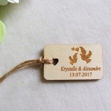 50 pcs personnalisé gravé colombe nom et Date étiquettes de mariage Rectangle en bois étiquettes volantes rustique mariage nuptiale douche faveurs étiquettes