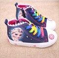 Nueva belleza de la moda de los niños shoes girls elsa anna cartoon niños corriendo zapatillas de niños plana zapatilla de deporte para las niñas botas