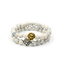 8mm Natural White Howlite Stone Bead Bracelet for Women,Antique Silver Gold Color Lion Head Charm Elastic Yoga Jewelry