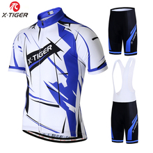 X-TIGER Summer Cycling Jersey Set Breathable Short Sleeve Cycling set ropa ciclismo Mens Cycling Clothing MTB Bike Cycling kit cheap 100 Polyester 20 Lycra and 100 Polyester Factory Direct Sales 80 Polyester and 20 Stretch Spandex XM-DBT-014 GEL Breathable Pad