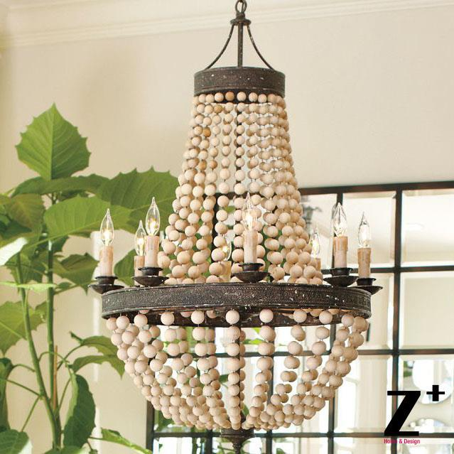 America Style Vintage Country Wood Bead Made Work Chandelier Lamp Woodern E14 X 8 Lights Led Free Shipping