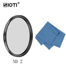 SIOTI 62/67/72/77/82MM ND2/ND4/ND8 Camera Filter with Cleaning Cloth for Canon for Nikon for Sony for DSLR Camera Lens 49 52 55 58 62 67 72 77 82 mm ring square graduated nd2 nd4 nd8 orange blue camera lens filter kit for cokin p series adapter