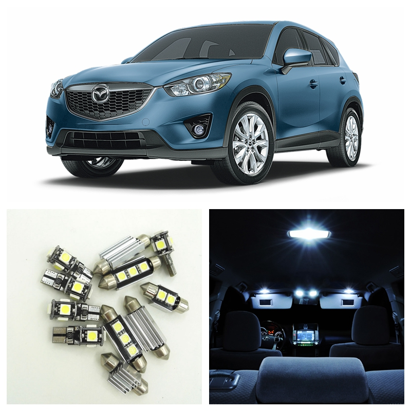 10pcs white car led light bulbs interior package kit for 2013 2014 2015 mazda cx 5 cx5 map dome. Black Bedroom Furniture Sets. Home Design Ideas