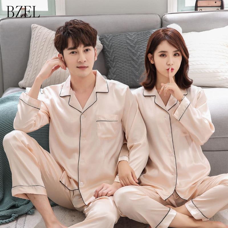 BZEL Couple   Pajamas     Sets   Autumn Men And Women Silk Satin Pijamas Sleepwear Lover Home Night Suit Sleep Lounge Big Size M-XXXL