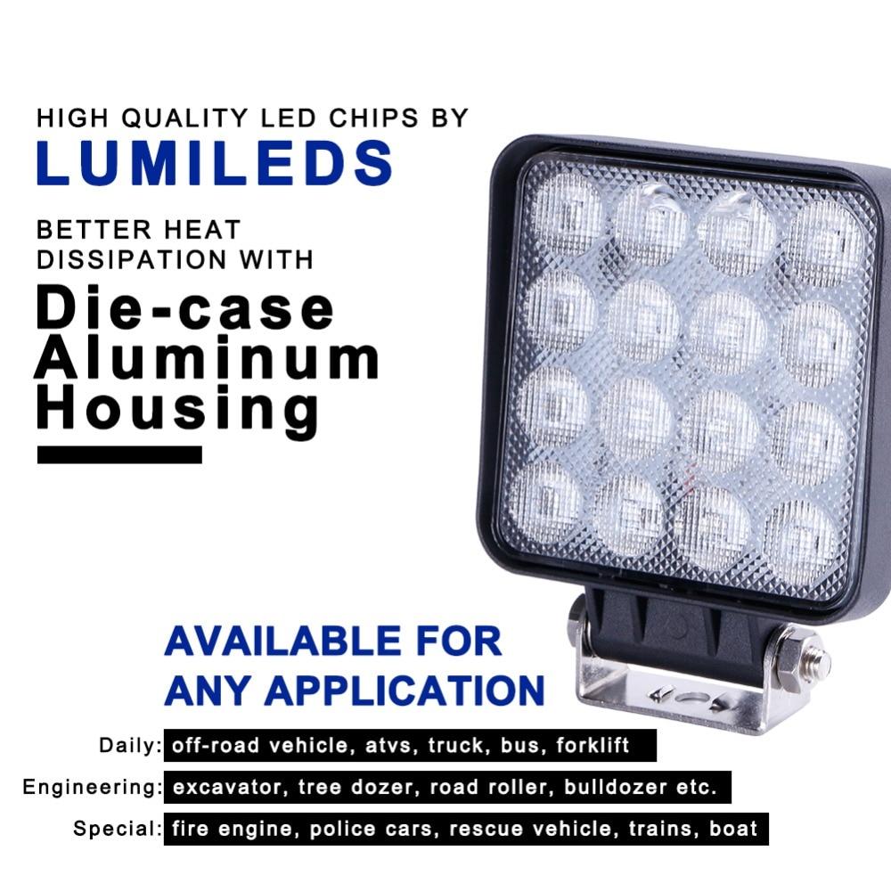 TC-X Flood Square LED Arbejdslampe Bar Lampe til bil Offroad 4x4 ATV - Billygter