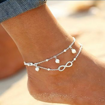 Bohemian Elegant Women's Imitation Pearl Anklet Foot Bracelet Barefoot Sandals Chain Strap Beach Accessories Jewelry For Women 2
