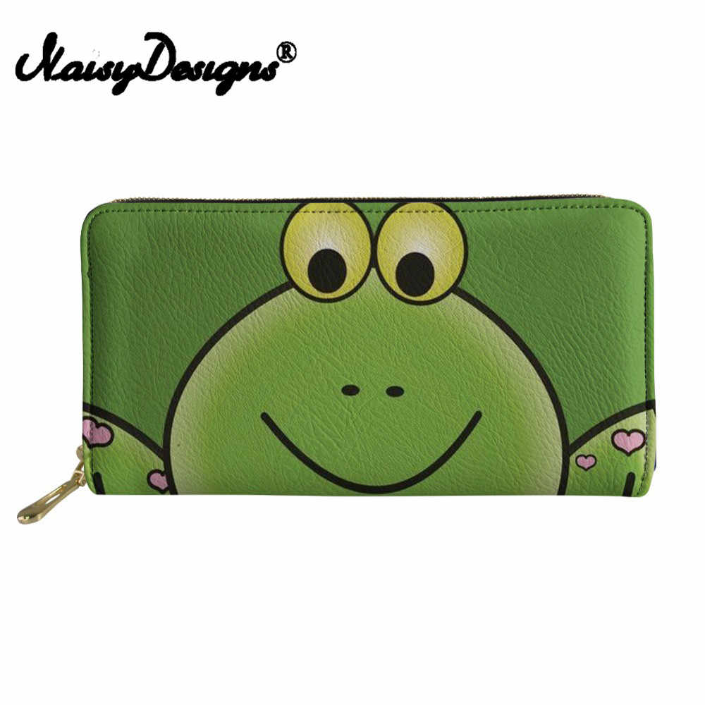 Noisydesigns Cartoon Frog Print Wallets Women Long Phone Cash Zipper Purse Ladies Cute Coin Pocket for Females Cluth Money Bag