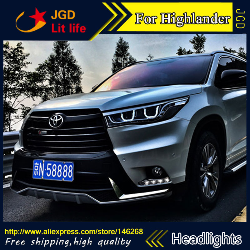 Free shipping ! Car styling LED HID Rio LED headlights Head Lamp case for Toyota Highlander 2016 Bi-Xenon Lens low beam free shipping car styling led hid rio led headlights head lamp case for chevrolet trax bi xenon lens low beam