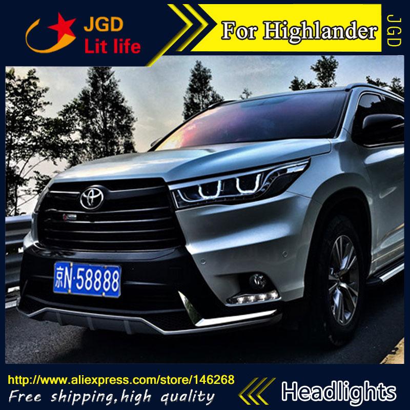 Livraison gratuite! Car styling LED HID Rio LED phares Lampe Frontale cas pour Toyota Highlander 2016 Bi-xénon Lentille à faible faisceau