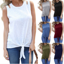 Women T-shirt Tshirt Tee Shirt Femme Shirts Sleeveless Loose O Neck Tie Knot Front Sexy 2019 Summer Solid Basic Tees New Arrival цена 2017