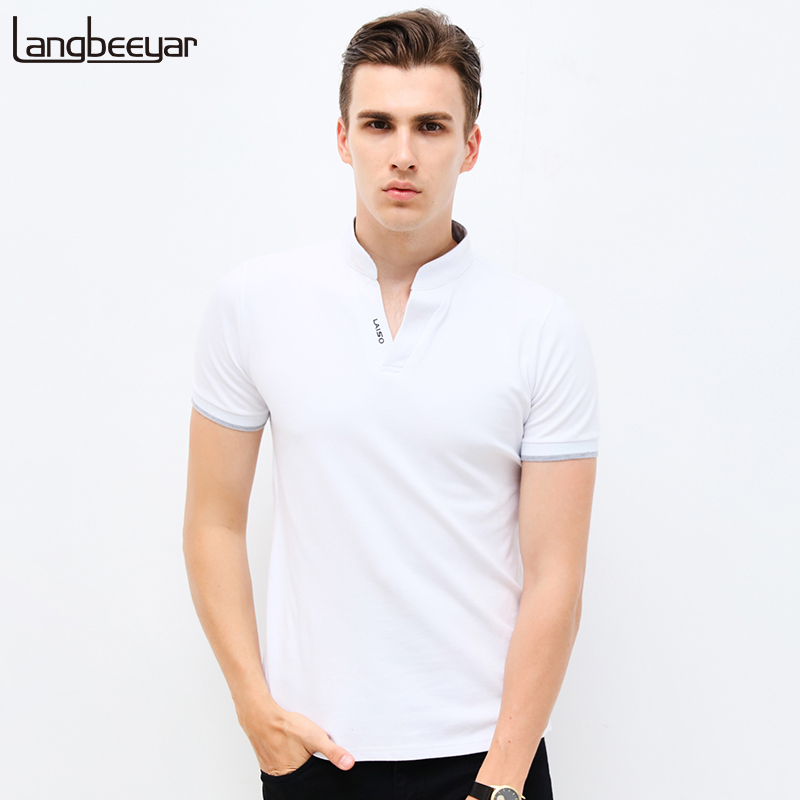 Hot Sale 2017 New Summer Fashion Mens T Shirts V Neck Slim Fit Short Sleeve T