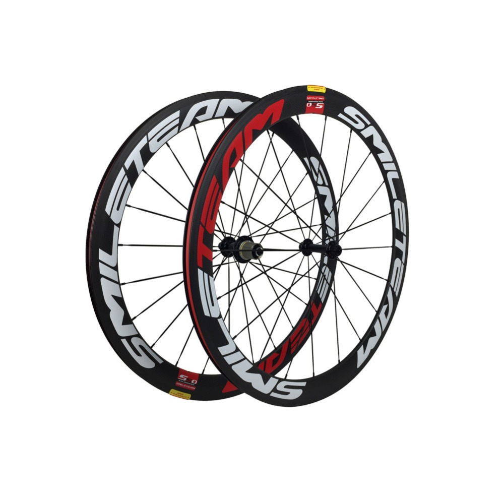 Smileteam Ultra Light Full Carbon Fiber R13 Wheelset 700C 50mm Depth 23mm Width Clincher Racing Bicycle Road Bike Carbon Wheels smileteam 50mm clincher oem decals dt350 hub sapim cx ray spokes carbon wheelset high quality carbon 700c road bike wheels
