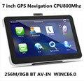 Venta al por mayor 7 pulgadas pantalla táctil de navegación GPS 256 M / 8 GB WINCE6.0 CPU 800 M + Bluetooth AV-IN + envío última mapas, 10 unids/pack