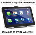 Wholesale 7 inch Touch Screen Car GPS Navigation 256M/8GB WINCE6.0 CPU 800M+Bluetooth AV-IN+Free latest Maps,10pcs/pack
