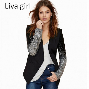 Liva Girl 2017 Women New Fashion Blazers Long Sleeve Notched Slim Blazers For Women Plus Size Patchwork Suit Coats XXXL plussize