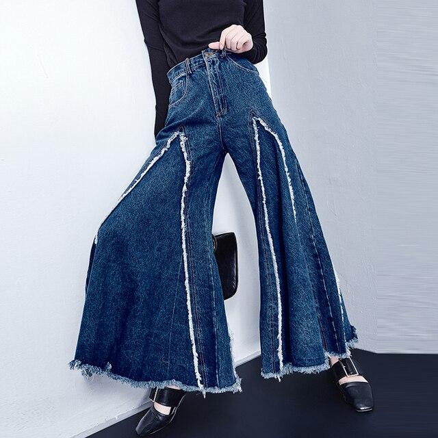 b975b1c20190 Women Denim Wide Leg Pants Female Korean High Waist Thin Cowboy Flash  Student Tide Slacks Bellbottoms