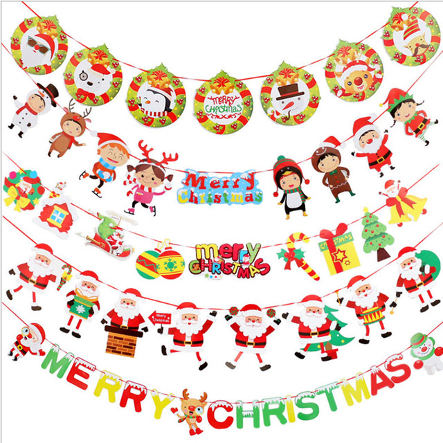10 pcs   lot outdoor christmas flags banners garland xmas flags tree  decoration Jingle Bells Happy de24e09c9d17