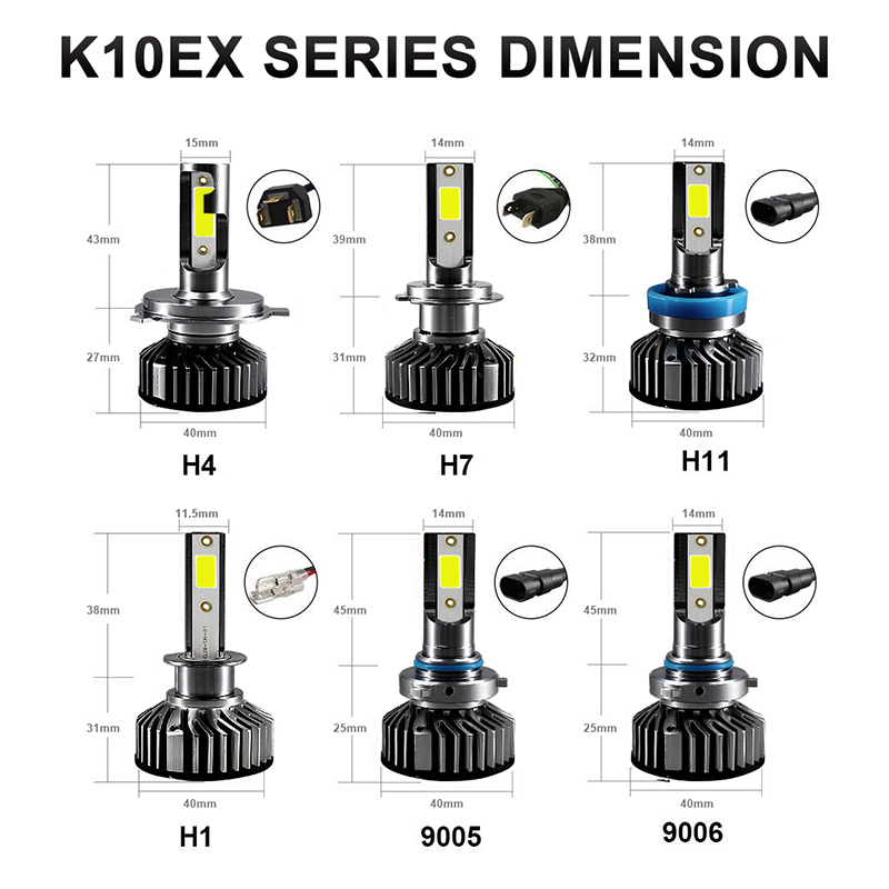 Image 5 - HLXG Mini H4 luces lamp H7 LED Far Car Headlight 12V 10000LM Bulb Accessories 10000K 5000K 6000K 8000K H11 9005 HB3 9006 HB4 H8-in Car Headlight Bulbs(LED) from Automobiles & Motorcycles