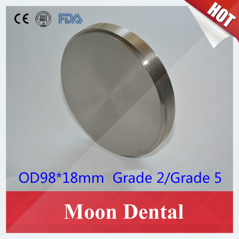 1 Piece OD98x18mm Dental Titanium metal Blocks Open CAD CAM Milling Material Dental Titanium Disc for Crowns & Bridges dental temporary cement 1 1 polycarboxylate ne prosthetics temporary fixation material for crowns and bridges