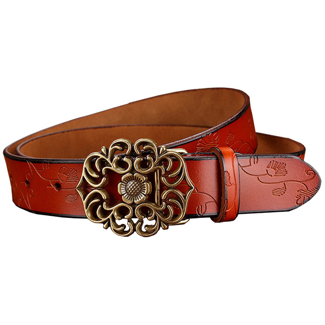 New Vintage Belt Woman Genuine Leather Second Laye Cow skin strap Fashion Floral Buckle Belts For Women Top Quality jeans girdle