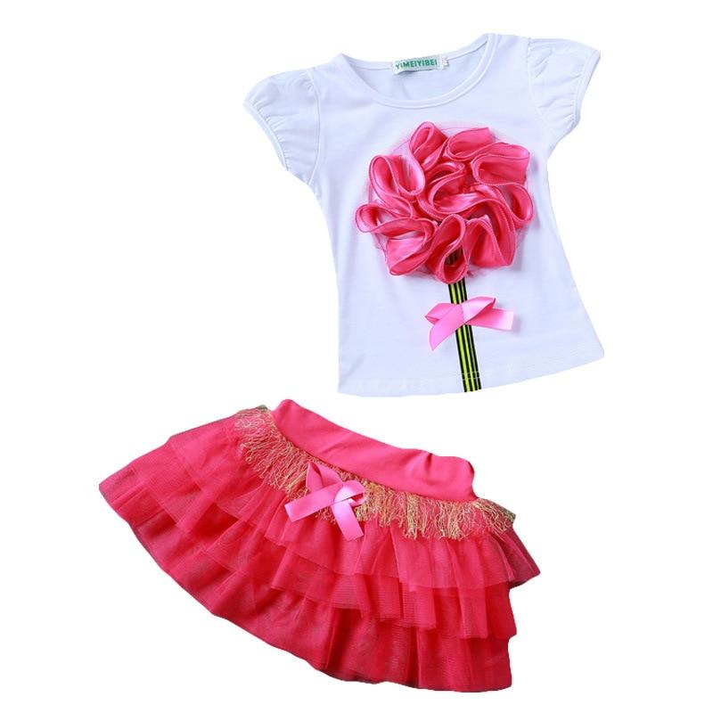 Új lány ruházatkészletek Nyári gyerekeknek Divatos pamut Rövid ujjú virág póló és hercegnő szoknyakészlet Kislányok Ruhakészletek