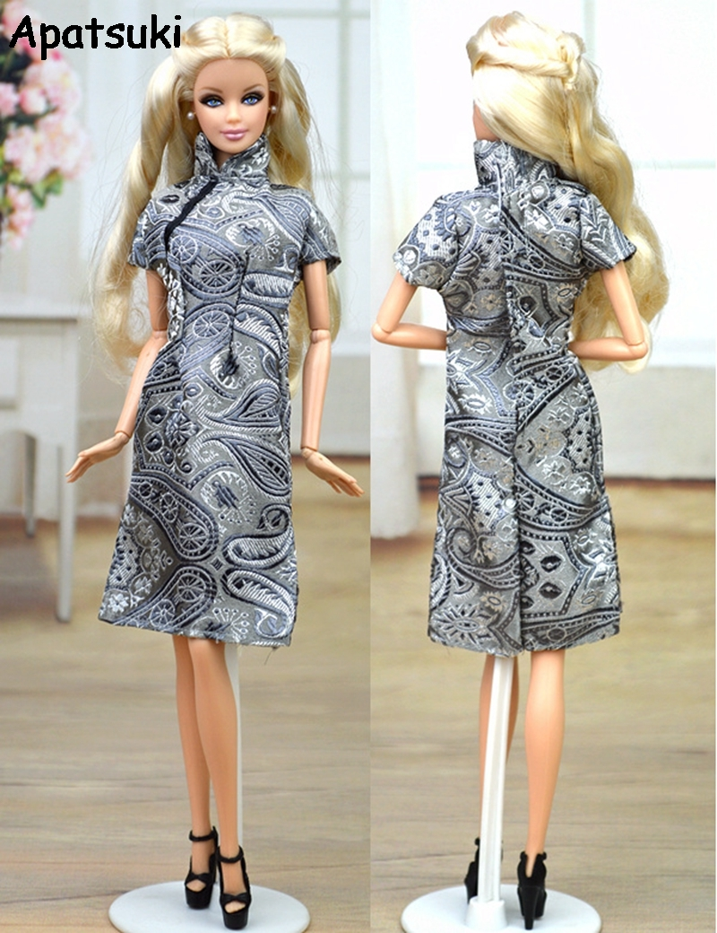 Doll Clothes Handmade Chinese Traditional Dress Qipao Vestido Dress For Barbie Doll Clothes Cheongsam Unique Evening