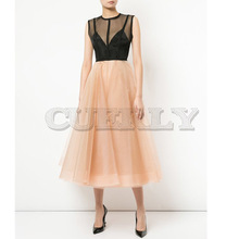 Cuerly 2019 Summer Luxury Designer v neck Sleeveless Women dress Elegant Cocktail Sexy Formal Tulle Mesh Dress For Wedding Party