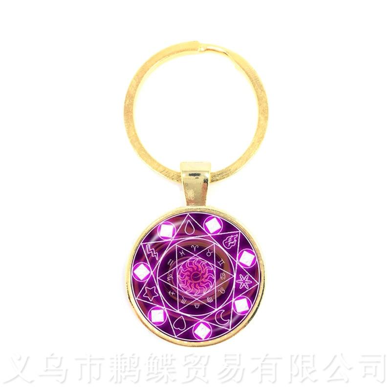 Purple Star Sign Constellation Key Chain Gift Scorpio Keyring Zodiac Keychain Purple Horoscope Keyring Scorpio Keyring