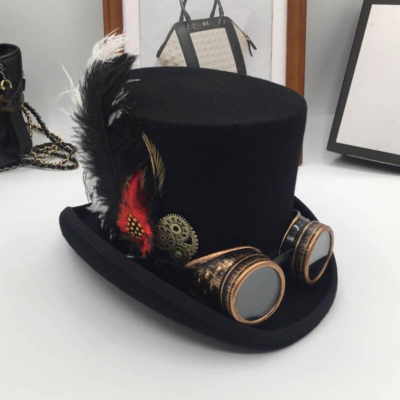Europe et états-unis vapeur ère laine, président cap gear lunettes plumes étapes chapeau chapeau mode d'angleterre