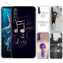 Music On World Off Case for Huawei Honor 8X 8C 8 9 10 20 Play 8A lite Pro V20 Y9 Y7 Y6 Y5 Prime 2018 2019 Silicone Phone Bags(China)