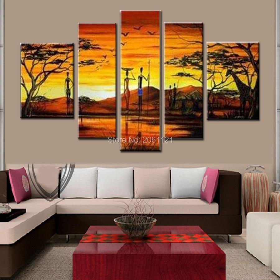 ručně malované zdi umění Afrika život malba domácí dekorace abstraktní Krajina olejomalba na plátně 5ks / sada kombinace