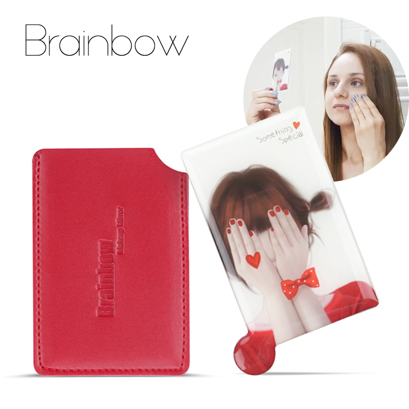 Brainbow 1-stykke Unbreakable Card Makeup Speil Shatter-Proof Pocket Mirror Kompakt Maquillaje Bærbar og Beskyttende PU Sleeve