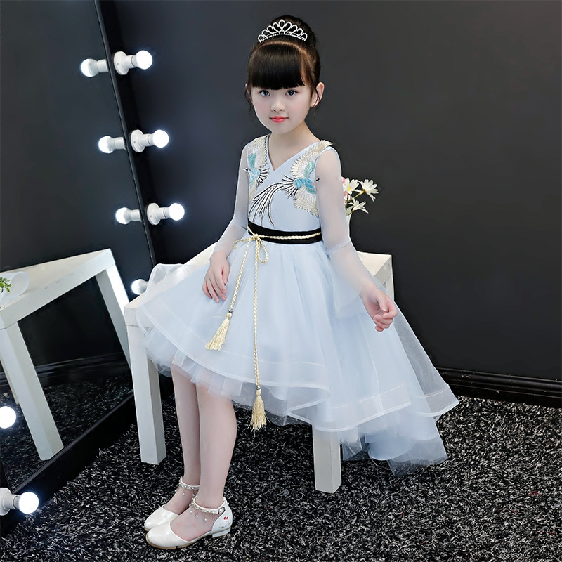 New Luxury Children Girls Birthday Wedding Party Embroidery Front Short Back Long Tail Ball Gown Dress Baby Kids Costume Dress girls button front cami dress