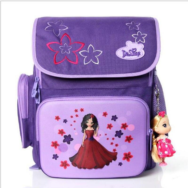 Красивые Детские супер легкий бренд delune школьная сумка Бесплатная куклы для детей Студенты Рюкзак для девочек большая емкость путешествия ...